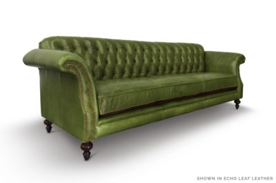 The Riley: High Back Scroll Arm Tufted Chesterfield Sofa In Echo Leaf Leather