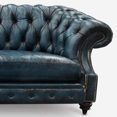 Langston High Back Scoop Arm Chesterfield Hand-stained In Navy Leather