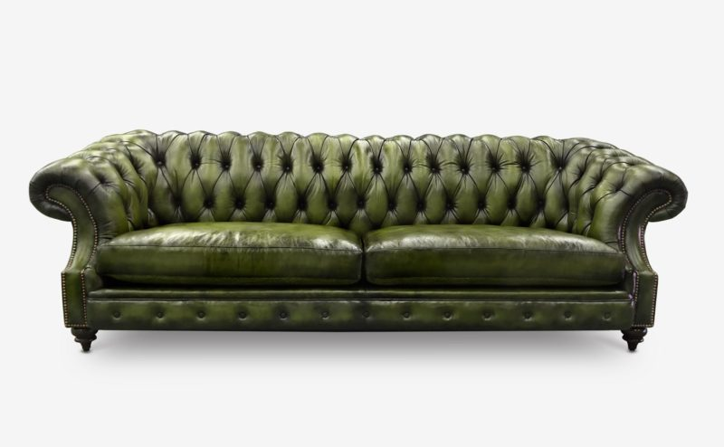 Langston High Back Scoop Arm Chesterfield Hand-stained In Green Leather