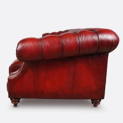 Langston High Back Scoop Arm Chesterfield Hand-stained In Red Leather