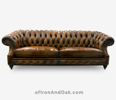 Langston High Back Scoop Arm Chesterfield Hand-stained In Brown Leather