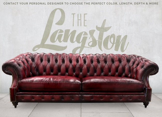 Langston High Back Scoop Arm Chesterfield Hand-stained in Oxblood Leather
