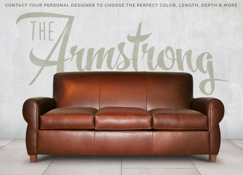 Armstrong Brown Leather Parisian Club Sofa