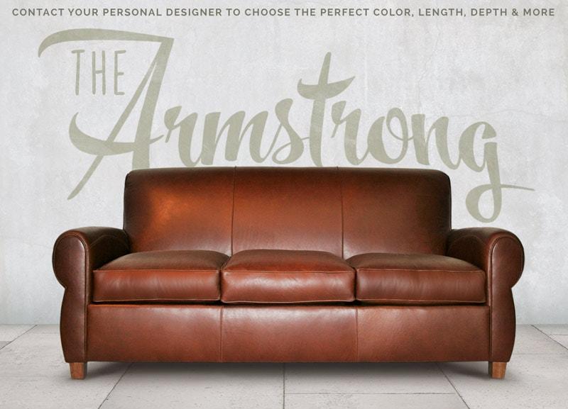Armstrong Brown Leather Parisian Club Sofa