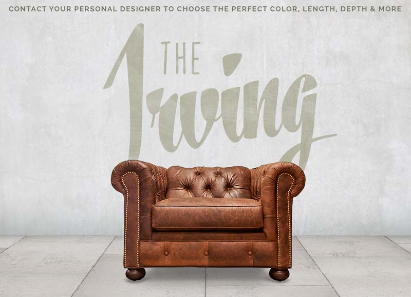 The Irving: Low Profile Brown Chesterfield Armchair