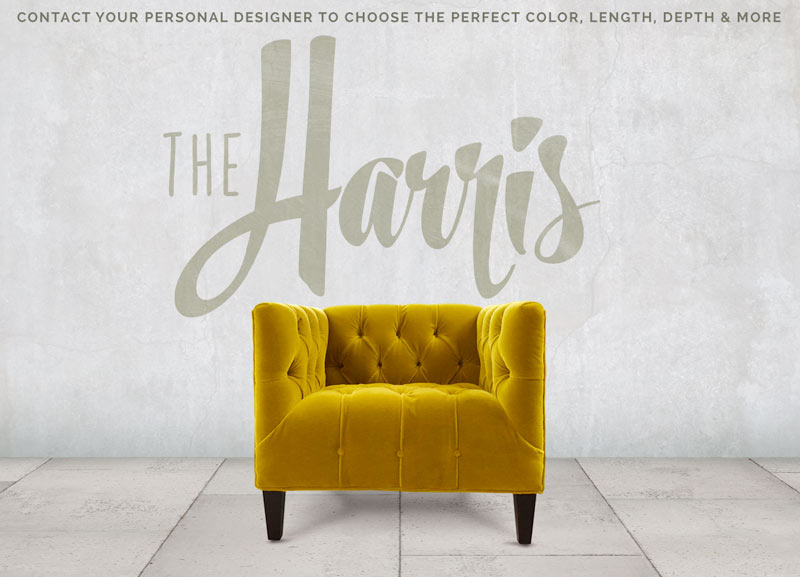 The Harris Tufted Seat Mid-Century Gold Velvet Armchair