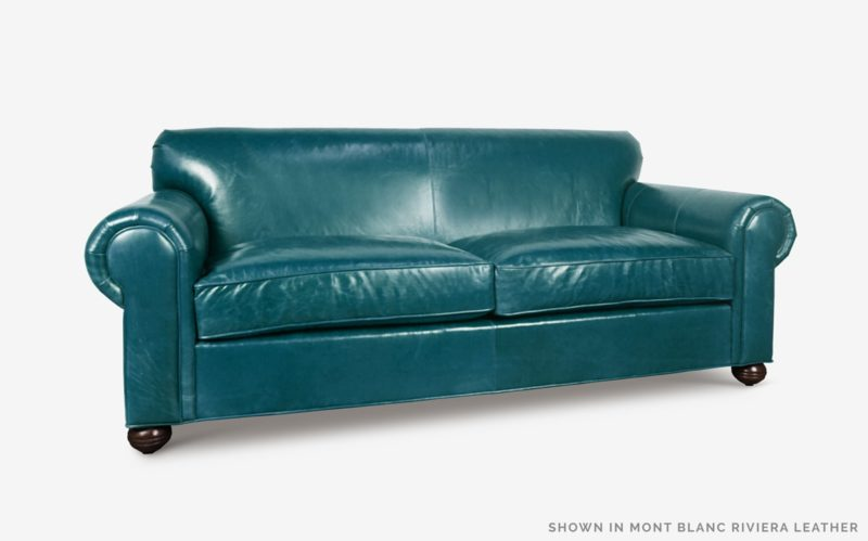 Franklin Roll Arm Sofa In Mont Blanc Riviera Leather Franklin Tight Back Roll Arm Sofa In Mont Blanc Riviera Leather