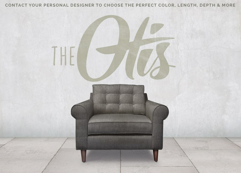 Otis Mid-Century Low Profile Roll Arm Chair In Charcoal Gray Fabric