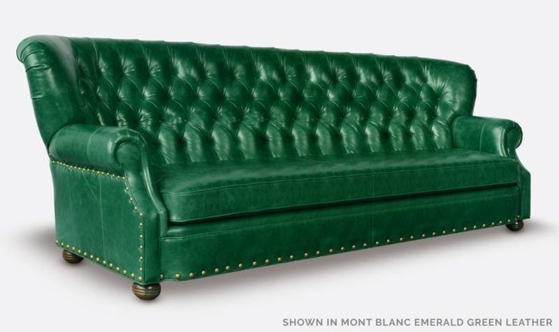 Big Benjamin Mont Blanc Emerald Green Leather Wingback Chesterfield Sofa