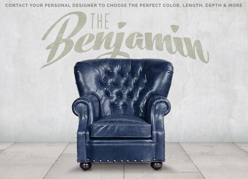 Big Benjamin Mont Blanc Adriatic Blue Leather Wingback Chesterfield Armchair