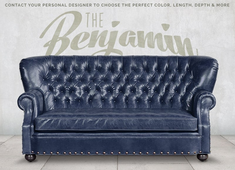 Big Benjamin Mont Blanc Adriatic Blue Leather Wingback Chesterfield Sofa