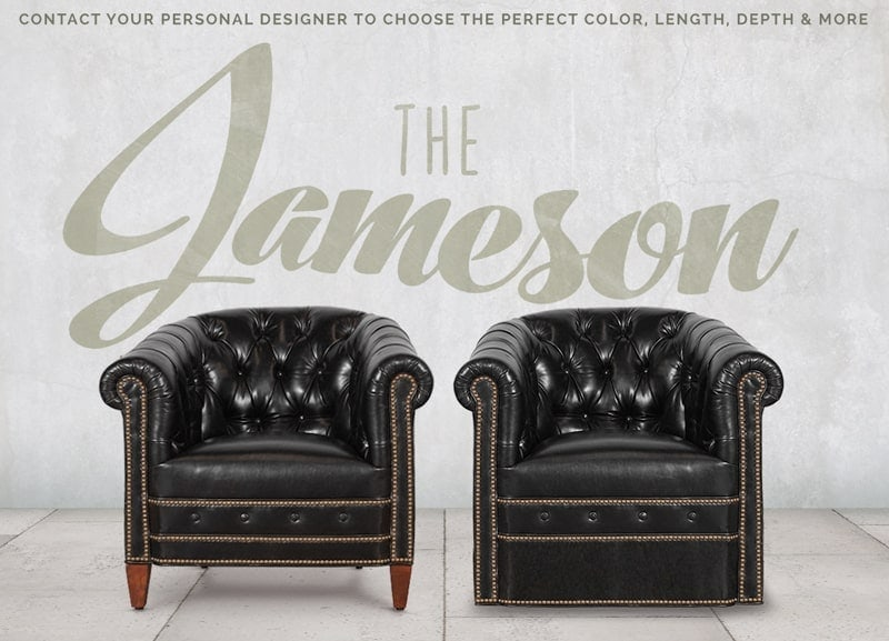 Jameson Tufted Mont Blanc Midnight Black Leather Barrel Chairs